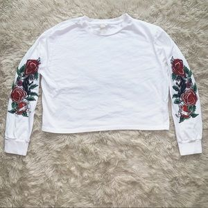 Forever21 Floral Embroidered Long Sleeve Tee